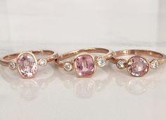 "Love the colors studio 1040 chooses for their sapphire rings!! ""3-stone peach sapphire bezel diamond rings in rose gold. Mirror finish. #studio1040 #peach #peachsapphire #sapphire #naturalsapphires #cushion #round #oval #peachpeachpeach #diamonds #rosegold #engagement #wedding #bezel #rings #handmaderings #jewelry #yes #ido"""