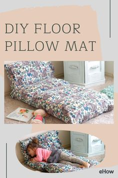 DIY Floor Pillow Mat - Whether watching a favorite movie, reading a good book or just relaxing next to a warm fire, this f - Easy Sewing Projects, Sewing Projects For Beginners, Sewing Crafts, Fabric Crafts, Fleece Crafts, Sewing Machine Projects, Christmas Sewing Projects, Scrap Fabric Projects, Easy Sewing Patterns