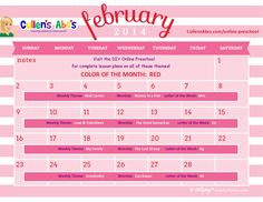 February 2014 Calendar | Use this calendar with your child or classroom and follow along with the lesson plans on these themes in the DIY Online Preschool.  To help foster an excitement for learning be sure to print this out and hang it where children can see it and ask questions.  Feel free to contact us at CullensAbcs@gmail.com with any questions.