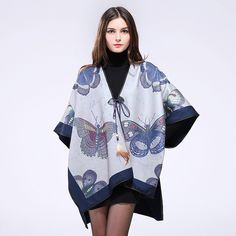 2016 New Fashion Butterfly Print Winter Poncho Women Luxury Brand Scarves…