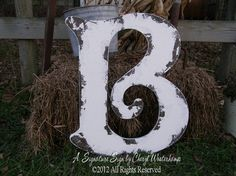 LARGE WOODEN LETTER B, The Letter B, Vintage Signs, Letters A Thru Z Available, Shabby Chic Decor, Wooden Guest Book on Etsy, $68.00