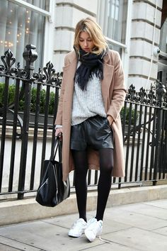 Coat: Ganni (in black - or more camel coats) || Knit: Zara || Shorts: Bruuns Bazaar (budget here) || Scarf: Filippa K || Sneakers: Adidas St...
