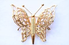 """Vintage Monet Butterfly Statement Brooch Signed Insect Coat Sweater Pin Gold Tone Filigree Retro Costume Estate Jewelry Gift 1.25"""" by DecoOwl5 on Etsy"""