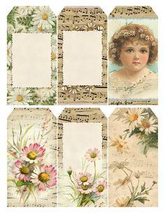 Free Printable Vintage Victorian Daisies Tags..