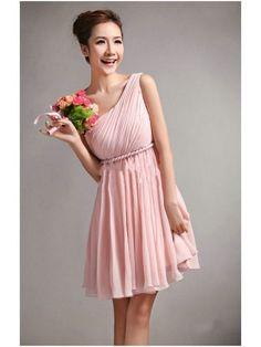 light pink bridesmaid dresses | Light pink- 1 shoulder Bridesmaid Dress | Wedding Stuff