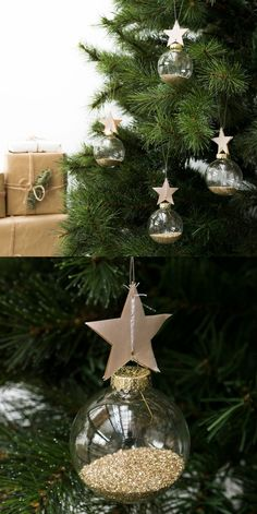 Bola de Navidad Star | Star es una bola de cristal para colgar, con brillo dorado en el interior y una bonita estrella de papel. Decora el árbol de Navidad con este adorno y conseguirás un hogar con mucho encanto estas fechas.  Se incluye 1 bola.  #kenayhome #bola #decoración #adorno #navidad #star#estrella #dorada #transparente #árbol #diseño #interior #navideño #escandinavo #nórdico #brillante