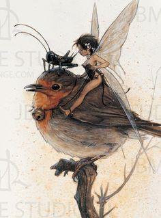 brown - bird with faery - illustration - Jean-Baptiste Monge Fairy Dust, Fairy Land, Fairy Tales, Magical Creatures, Fantasy Creatures, Fantasy World, Fantasy Art, Elves And Fairies, Jean Baptiste
