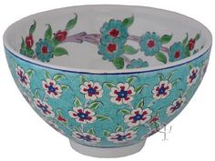 Iznik Design Ceramic Bowl - Tree of Life - Pottery Painting, Ceramic Painting, Pottery Art, Ceramic Clay, Ceramic Bowls, Turkish Art, Turkish Tiles, Bowl Designs, Glazes For Pottery