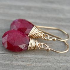 Little Red Ruby Gold Fill Earrings July Birthstone by westbyron, $38.00