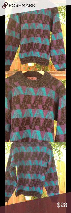 Women's Vintage 90's 80's Sweater Teal Purple Small oversized Indie sweater. 100% acrylic. Vintage Sweaters Crew & Scoop Necks