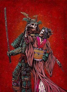 The samurai warrior and his geisha lady love stand united against their enemies. Painting Process The 22 x 30 aquaboard was painted with various orange, red, and teal acrylics to create a hot backdrop