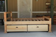 Custom Made Early American Rustic Storage Bed-This bed is made with pine with a natural finish. Comes in twin, full, queen and king sizes. You also have the option of stain color and finish to match y Bunk Beds With Stairs, Cool Bunk Beds, Kids Bunk Beds, Ottoman Storage Bed, Bed Storage, Storage Drawers, Kids Beds For Sale, Bed Designs With Storage, Full Size Bunk Beds