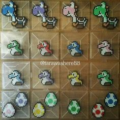 Yoshi stuff perler beads by Hama Beads Mario, Diy Perler Beads, Pearler Bead Patterns, Perler Patterns, Minecraft Pattern, Arte Nerd, Pokemon, Peler Beads, Iron Beads