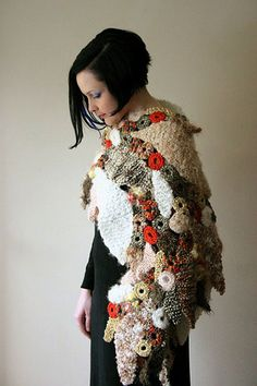 Prudence Mapstone's easy freeform knit & crochet Falling Leaves Wrap by freeform by prudence, via Flickr