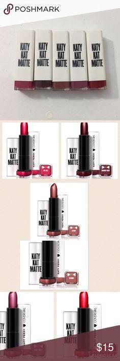 Katy Kat Matte 5 new lipsticks Brand new unused Katy perry cover girl lipsticks. Crimson cat, catoure, maroon meow, kitty purry, cat call covergirl Makeup Lipstick