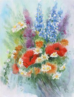 Kwiaty z ogrodu - Maria Roszkowska WATERCOLOR