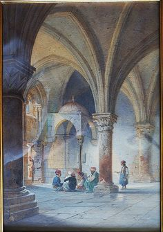 A Secret Meeting (Inside a Medieval Mosque in Jerusalem): An orientalist painting by German watercolour specialist, Carl Friedrich Heinrich Werner (signed lower right: C Werner F, 1864).