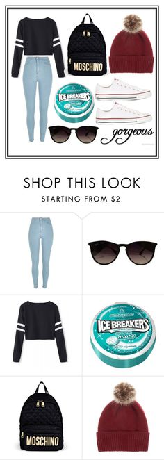 """Winter/fall themed❄️"" by ikkharag ❤ liked on Polyvore featuring River Island, Ray-Ban, Moschino, Helen Moore and Converse"