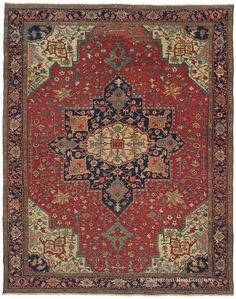 SERAPI, Northwest Persian, 8ft 1in x 10ft 5in, Late 19th Century. NEW ARRIVAL! This deeply memorable antique Persian Serapi rug features a rich, glowing palette and an extraordinarily finely articulated, unusually sophisticated design that is more akin to 19th century Tabriz court carpets. Its extremely rare 8x10 dimensions are tremendously seldom found in Serapi village weavings and make this Oriental rug treasure even more coveted.