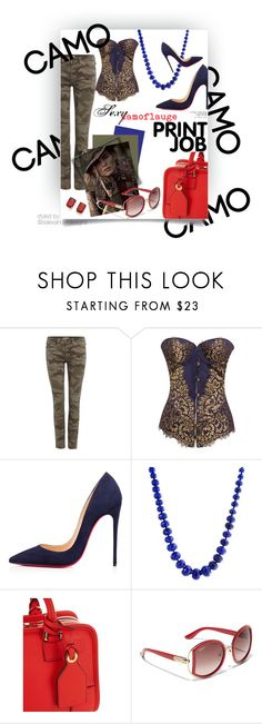 """Go Camo: Sexy Camoflauge Print Job"" by salexanderdesigns ❤ liked on Polyvore featuring True Religion, Agent Provocateur, Christian Louboutin, Bling Jewelry, Loewe, Salvatore Ferragamo, Kevin Jewelers and camostyle"