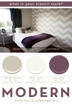 A stenciled bedroom using the trendy Chevron Allover stencil. http://www.cuttingedgestencils.com/chevron-stencil-pattern.html #cuttingedgestencils #stencils #diy #stenciling #wallstencils #stylegame #homedecor