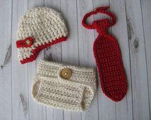 Gavroche de crochet, couvre-couche et cravate Photo Prop Set