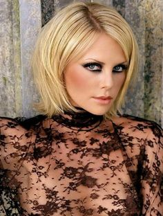 Charlize Theron with short layered hair