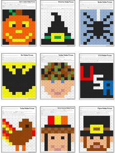 Hidden Pictures in a 120 Chart for fall. Includes 15 Hidden Pictures for back to school, Columbus Day, Halloween, Veteran's Day, and Thanksgiving.