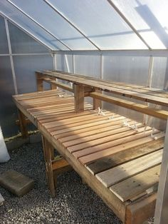 My diy greenhouse shelf made from pallets and bunky boards. I wonder if this would be good for the garage