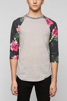 Raglan Sleeves are usually color blocked. The main shirt is different collar while the 3/4 raglan sleeves is another color.