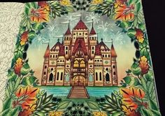 Castle Leaves Enchanted Forest. Castelo Floresta Encantada. Johanna Basford