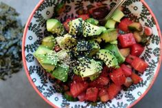 """Beet & Avocado """"Poke"""" Bowls // shutterbean (added salmon and used quinoa Whole Food Recipes, Healthy Recipes, Healthy Food, Sushi Bowl, Low Sodium Soy Sauce, Toasted Sesame Seeds, Poke Bowl, New Cookbooks, Savoury Dishes"""