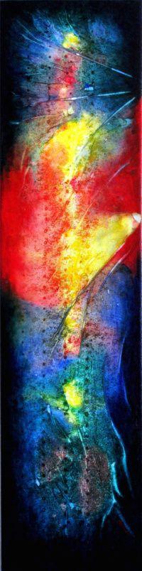 """ Glowing Presence ""    Acrylic on canvas        16"" x 46"""