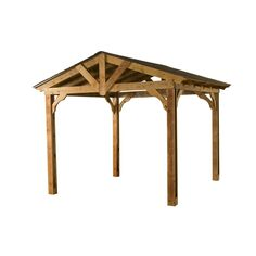 Shop Heartland Pasadena 8.9-ft x 10-ft x 12-ft Microshade Wood Southern Yellow Pine Freestanding Pergola at Lowes.com