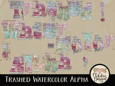 Grunge Watercolor Alpha - Painted Digital Scrapbook Alpha ClipArt - Grunge Pastel Trashed Water Color Alpha - Digital Letters Alphabet by ClikchicDesign - Kids Alphabet, Grunge, Arty Fashion, Letter Set, Easy Crafts For Kids, Clipart, Altered Art, Digital Scrapbooking, Card Making