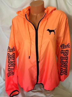 New Victoria's Secret PINK Anorak Windbreaker Jacket Orange Ombre M/L #VictoriasSecretPINK #Windbreaker