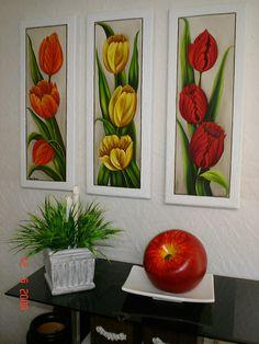 Tulip Painting, Acrylic Painting Flowers, Acrylic Art, Acrylic Painting Canvas, Fabric Painting, Diy Painting, Simple Flower Drawing, Flower Art, Indian Art Paintings