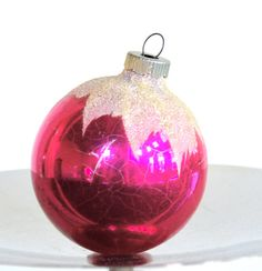 Vintage Shiny Brite Christmas Ornament Fuchsia Pink with Sugar Glitter Accents Medium Sized via Etsy