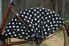 Bicycle skirt guard Itsy Bitsy Black Polka Dot by FrillRide, $36.00