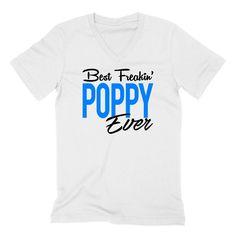 Best freakin poppy ever father's day birthday Christmas grandparents day grandpa V Neck T Shirt