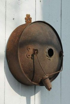 "Birdhouse - Reclaimed Round ""Au Naturale"" Gas Can Birdhouse."