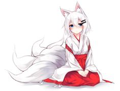 Anime 3331x2527 anime anime girls animal ears Japanese clothes short hair white hair