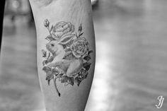 korea, jojo.tattoo rabbit+rose blackworks