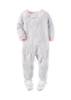 Carters Multi 1-Piece Animal Print Footed Pajamas Toddler Girls