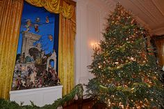 The beautiful White House creche and one of the (several) Christmas trees in the East Room.