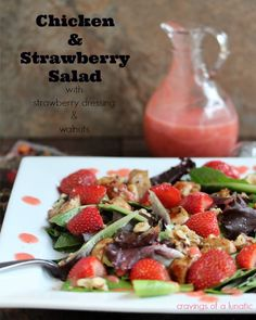 Chicken and Strawberry Salad with Strawberry Dressing & Walnuts #flavorsofsummer | Cravings of a Lunatic @Kim Beaulieu | Cravings of a Lunatic