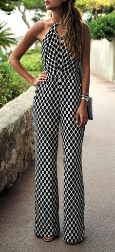 Black and white patterned silk jumpsuit.