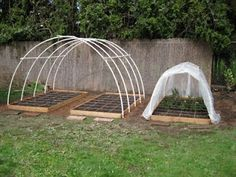 Covering dome for square foot garden.  May need something like this for a few of our beds.