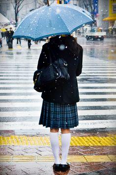 Schoolgirl in the snow