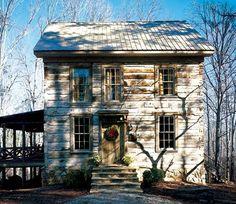 dappled log cabin - love the old wood